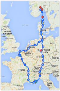 Tesla reiserute Europa 2015